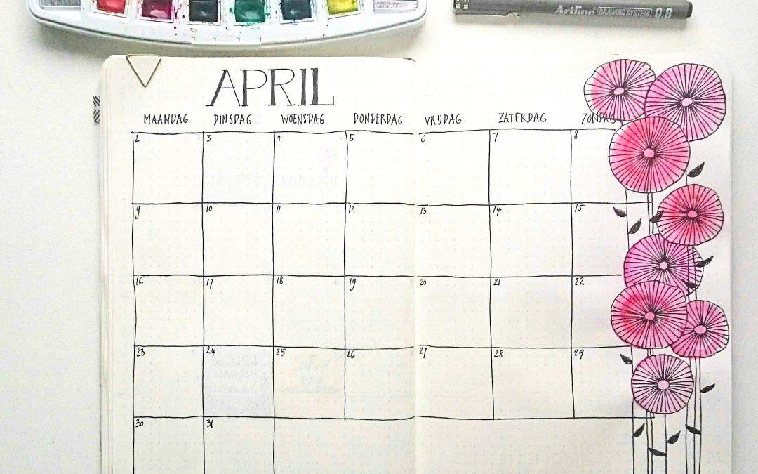 Bulletjournal – April overzicht met bloemen